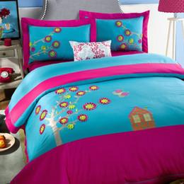 autumn colorful embroidery pcs bedding sets algodn americano de la boda textiles para el hogar coleccin casera de la alta calidad tamao reina de