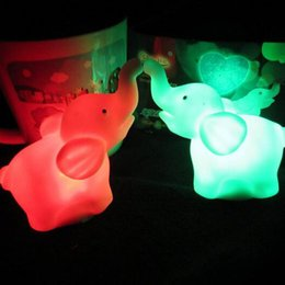 2016 new Small Night Light Colorful Changing Elephants Small Night Lamp LED Night Light LED Toys free shipping