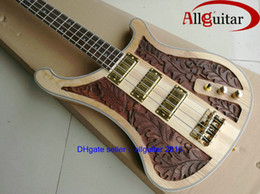 Wholesale 2016 New strings Bass Guitar One piece neck active pickups wood handwork sculpture Electric bass