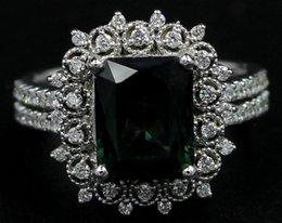 Bague en or tourmaline verte en Ligne-3.89 Ct Tourmaline Vert émeraude Halo Bague à diamants Bague 14k en or blanc (Vidéo!)