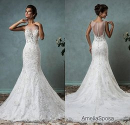 Wholesale 2016 White Lace Mermaid Wedding Dresses Amelia Sposa Sheer Neck Illusion Back Cheap Beaded Applique Bridal Gowns Custom Made Plus Size