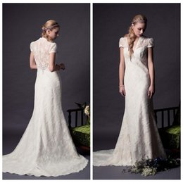 V-Neck Short Sleeves Mermaid Wedding Dresses 2016 V-Neck Vintage Plus Size Bridal Gowns Custom Slim Formal Dress