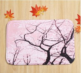 Wholesale Cherry blossom household bedroom door non slip mat mixed batch of factory custom carpet