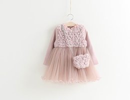 Wholesale 2016 Autumn Winter New Girl Princess Dresses Rose Flower Thicken Long Sleeve Dress With Bag Children Clothing