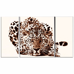 Wholesale LK3130 Panels Wild Animals Leopard Oil On Canvas Painting African Animal Wall Art Paintings For Bedroom Decor Ready To Hang Framed Uframed
