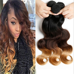 1B 4 27 7A Ombre Hair Extensions 1b 4 27 Ombre Hair Weaves 3pcs lot Blonde Remy Body Wave Virgin Human Hair