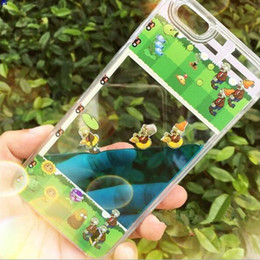 Wholesale Dynamic Liquid Water Quicksand Soft TPU Clear Back Cases Covers For iphone6 S Plus Plus Funny Cartoon Plants VS Zombies Garden Warfare