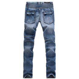 Wholesale-Men's Fashion Brand Clothing Ripped Biker Jeans Men Skinny Distressed Moto Denim Joggers Washed Pleated Jean Pants Black Blue