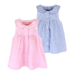 2016 Girls Summer Dress Children Girls Lapel Button Sleeveless Striped Wonderful Sources Dress Pink Blue Little Girl Dresses Kids Clothing