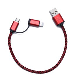 Wholesale MiNi Cable Micro port cm Length USB Data Cable V A dual color weaved cables for andorid iphone5 iphone6 s