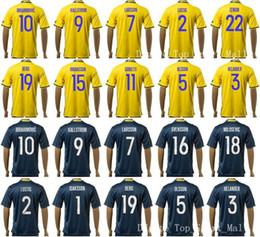 Wholesale 2016 Sweden Soccer Jerseys KALLSTROM IBRAHIMOVIC Football Shirt Kits LARSSON LUSTIG ZENGIN DURMAZ TOIVONEN BERG OSCAR