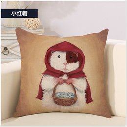 Red Riding Hood Rat Witch Mage Cartoon Art Pillow Case Cover Massager Decorative Pillows Vintage Home Decor Elegant Kids Gift