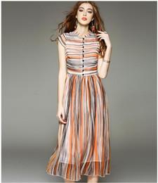Lady's elegant temperament stripe print short sleeve dress