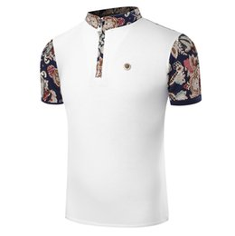 Wholesale Vente en gros British Royal Style Hommes Impression Chemises Coton Décontracté Zipper design Transpiration Manches courtes Contraste Couleur Polos Chemise de golf