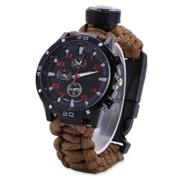 Wholesale Best HOT Outdoor Survival Watch Bracelet with Compass Flint Fire Starter Paracord Thermometer Whistle