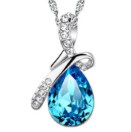 S925 Sterling Silver Pendant necklace Korean jewelry wholesale blue droplets Angel Tears Austrian crystal bow necklace Free Shipping