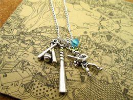 Wholesale 12 Baseball fashion necklace Sport necklace Antique silver baseball Baseball Bat Baseball Player necklace