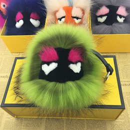 Wholesale Racoon fur accessories boutique bags high quality Sable little monsters Ball pendant fur handbag bag charms key rings
