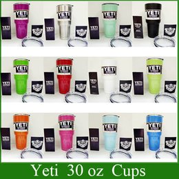Wholesale YETI cups Rambler Tumbler oz YETI Cups Cars Beer Mug ML Large Capacity Mug Yeti Bilayer Stainless Steel Cup via DHL