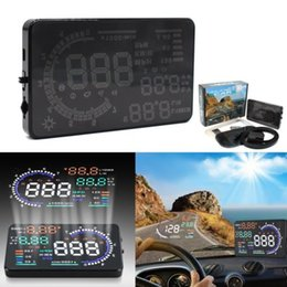 Wholesale 5 quot HUD Car Head Up Display OBD II OBD MPH KM h Speeding Warning Plug Play Fuel Consumption