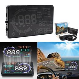 Wholesale 5 quot HUD Car Head Up Display OBD II OBD MPH KM h Speeding Warning Plug Play Fuel Consumption