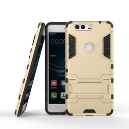 Wholesale Hybrid Heavy Duty Armor Cover For HUA WEI P9 Kickstand Call Phone Case Tough Shockproof PC TPU Shell pc up