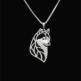Siberian husky head jewelry Silver Gold Necklaces & Pendants For Women Casual Jewelry Charms Dog Necklace