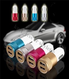 Aluminum Material Dual Universal USB Car Charger phone charger 2.1A 1A Dual 2 Port Universal Adapter For all the phone