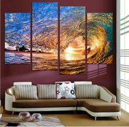 Wholesale NO FRAME CANVAS ONLY pieces Sunset on the beach with screw ocean wave wall painting printed on canvas home decor