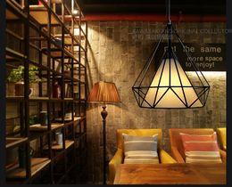 Wholesale High quality European retro industrial wind wrought iron birdcage diamond pendant modern American style loft idea bar restaurant study lamp