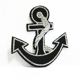 Wholesales 10 Pieces Black Silver Anchor Punk Patch (6 cm x 6.5 cm) Embroidered Applique Iron On Patch (AL)