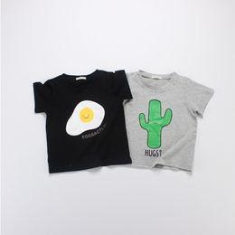 Wholesale Kid Girls Fashion Tops - 1-5Y Baby Cactus Eggs Print Short Sleeve Cotton T-Shirts Boys Girls Clothes 2016 Summer Casual Tops Kids Tee Shirt 8pcs lot