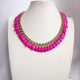 Free Shipping New Sweet Hot Pink Teardrop Cute Choker Fashion Design Beaded Necklace, Hot Selling Women Simple Design Necklace