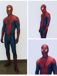 The Amazing Spider-man Adult Digital Print Halloween Cosplay Costume 3D Original Movie Spiderman Costume Zentai Spidey with Spiderman Lenses