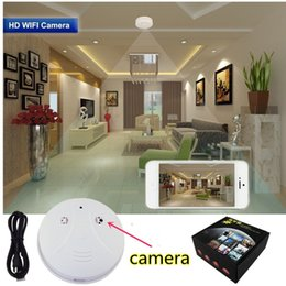 Wholesale Wi Fi Smoke Detector Camera Wireless IP Camera P HD Motion Activated Video Recorder Mini DVR Security Cam Suppot Android IOS