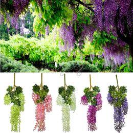 Wholesale 24pcs cm Artificial Hanging Flower Plants Silk Wisteria Fake Flower Decorative Flower Wreaths for Wedding Party Home Garden Decor
