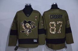 Wholesale New Pittsburgh Penguins Mens Sidney Crosby Army Green Salute To Service Ice Hockey Jersey Accept Mixed Orders Best Quality