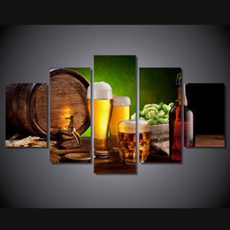 Wholesale 5 Panel HD Printed beer barrel bottle hop malt house Painting Canvas Print room decor print poster picture canvas oil paintings