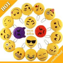 Wholesale Emoji Keychains Yellow doll pendant Emotion Yellow QQ Expression Fashion NEW cm Emoji Smiley Stuffed Plush doll toy for Mobile bag pendant