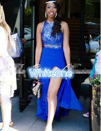 Wholesale Two Pieces Royal Blue Formal Pageant Prom Dresses Sexy Backless Mermaid Beading Split Evening Event Wears For Arabic Young Girls Cheap