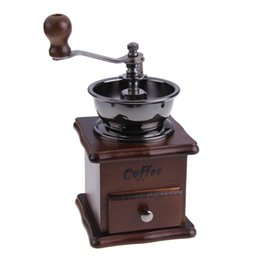 Wholesale Hot Sale Retro And Elegant Cooking Tools Mini Manual Coffee Mill Wood Stand Bowl Antique Hand Coffee Bean Grinder E5M1 order lt no track