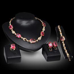 Bracelets Necklaces Rings Earrings Sets Fashion Women Royal Luxury Imitation Gemstone 18K Gold Plated Wedding Jewelry 4-piece Set JS062