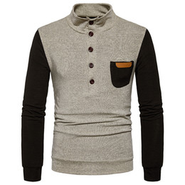 Free Shipping US Size S-2XL High Quality 2017 new fall fashion men standing collar sweater single pocket sweater