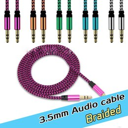 3.5mm nylon braided metal connector AUX Audio usb cable Cables Male To Male Stereo Car Extension Audio Cable For MP3 smart phones