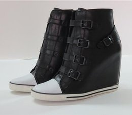 Wholesale Ash Women s United Rubber Fashion Sneaker Black Genuine Leather Buckle Trainers On Hot Sale Tide Punk Increased Ankle Boots Shoes Size