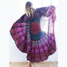 Round Beach Towel Bohemian Style Chiffon Fabric 150cm Beach Towels Round Printed Serviette Covers for Summer