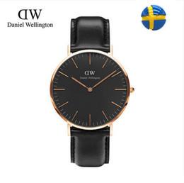 Wholesale Super slim Quartz Casual Wristwatch Business Sweden Daniel Wellington Brand Leather Analog Quartz Watch Men s Fashion Nylon with watch