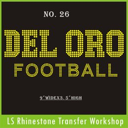 Wholesale Hot fix iron on garment DEL ORO Football topaz rhinestone custom transfer for garment