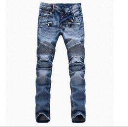 Wholesale Men s Foreign Trade Light Blue Jeans Pants Balmain Motorcycle Pants Men washing Slim Fit Fold Jeans