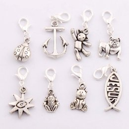 Wholesale 80pcs styles Antique silver Ladybug Teddy Bear Anchor Dog Fish Jesus Clasp European Lobster Trigger Clip On Charm Beads CM2